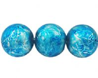 100+Drawbench Glass Beads Spray Painted, Round, Blue & Silver 8mm